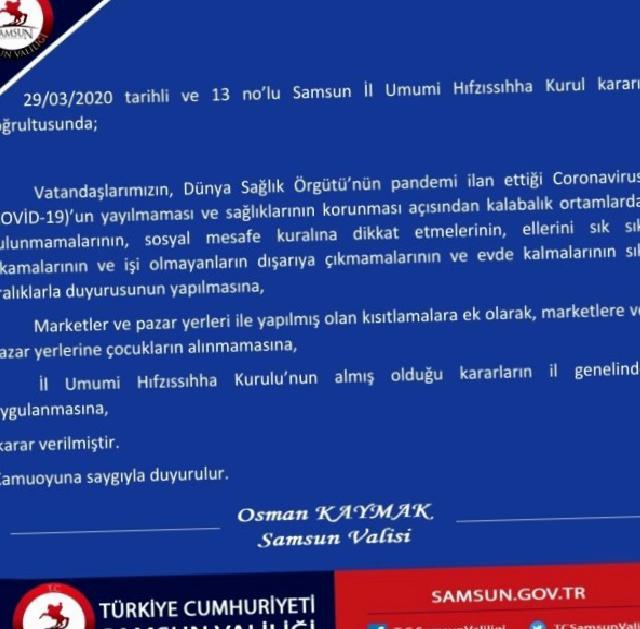 Samsun'da marketlere ve pazar yerlerine çocuklar alınmayacak