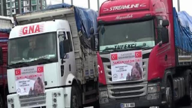 Samsun'dan İdlib'e 13 tır dolusu yardım