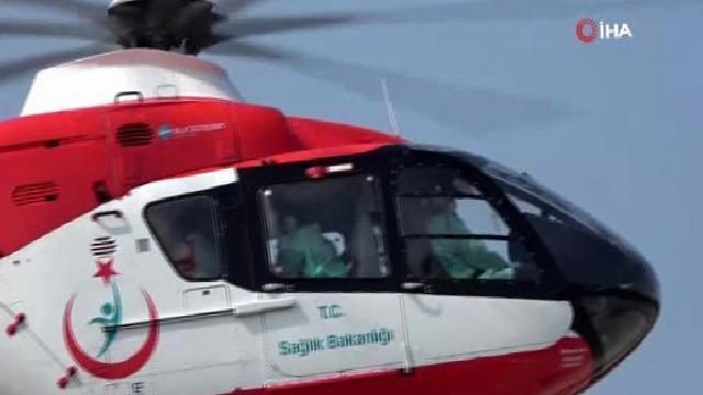 Ambulans helikopter anne karnından alınan 6 aylık bebek için havalandı