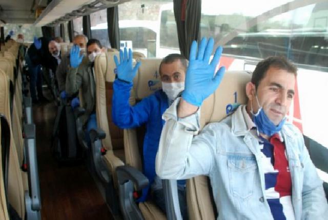 Karantina süresi dolan 320 işçi memleketlerine uğurlandı