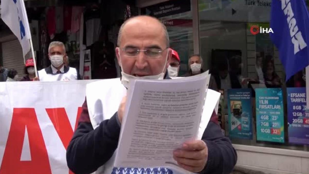 Samsun'da sosyal mesafeli 1 Mayıs eylemi