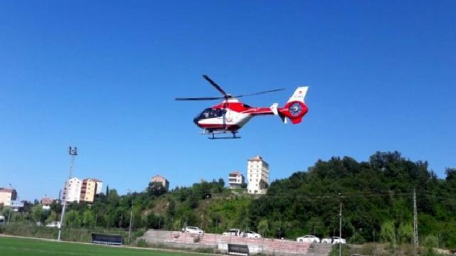 Yanan bebek ambulans helikopterle Samsun'a sevk edildi