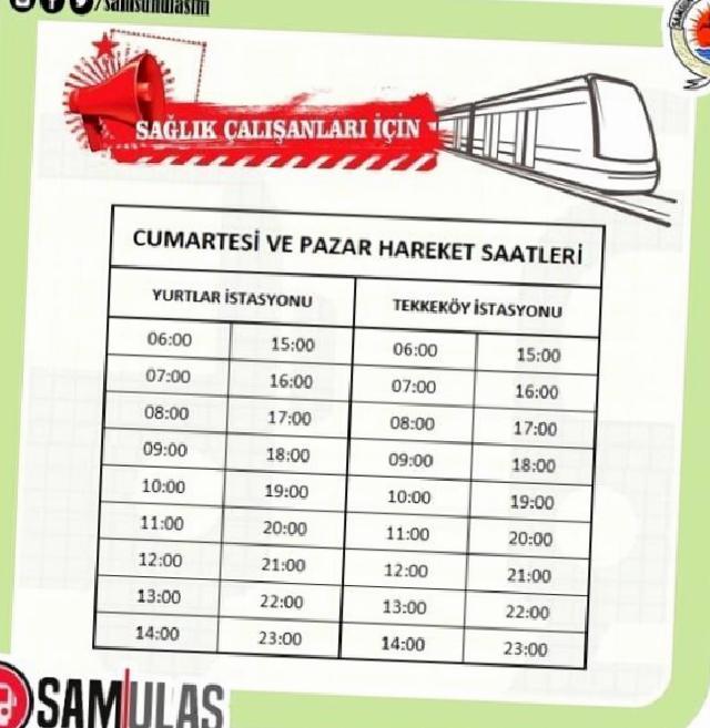 Samsun'da kısıtlamada tramvaylar saat başı çalışacak